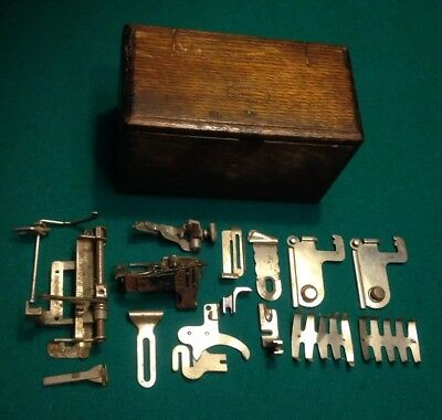 1889 VIntage Singer Sewing Machine Quarter Sawed Oak Puzzle Box And Attachments