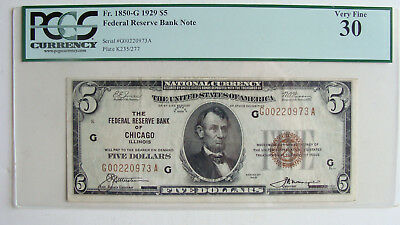 1929 National Currency $5 Federal Reserve Bank Of Chicago Pcgs Grade Very Fine