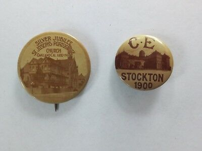 2 Celluloid Pinbacks from California