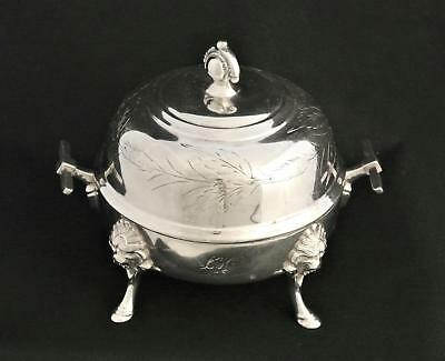 Vintage Silver Plate Mask Pattern Lion Face Butter Dish Knive Rest