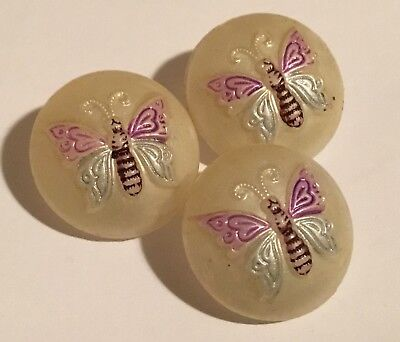 3 Antique Vintage Victorian or Art Deco 3-D Butterfly Glass Buttons