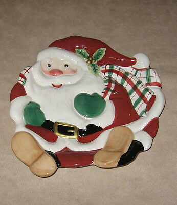 """Fitz and Floyd Santa Canape Plate-Super Cute-Hand Crafted-8""""-Ceramic"""