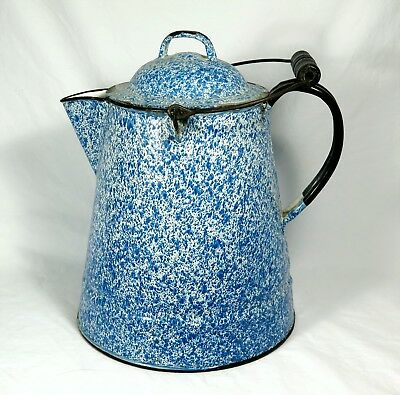 "ANTIQUE GRANITEWARE BLUE + WHITE COFFEE POT Large 11-1/2""  Tall Enamelware"