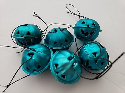 Halloween Pumpkin Turquoise Mini Bell Tree Ornaments Decorations Set of 6