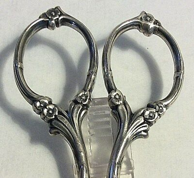 Antique Art Nouveau Sterling Silver Pair of Button Scissors  Flower Handles #223