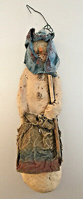"Early Arlene Wobler Primitive Snowman Christmas Tree Ornament 6"" #807 circa 1997"