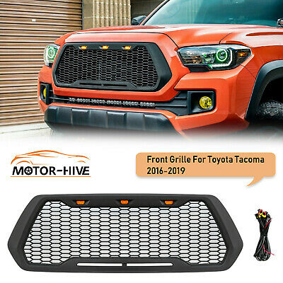 Mesh Grille For 2016-2018 Toyota Tacoma Raptor Style ABS With 3 Amber LED Lights