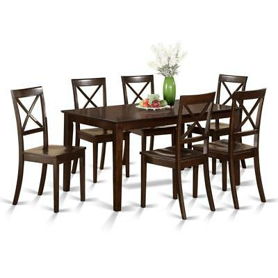 East West Furniture CAB7S-CAP-W 7 Pc Formal Dining Room Set - Table and 6 Chairs