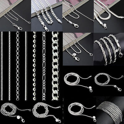 5/10/20Pcs 925 Silver Chain Necklace Women Men Lot Jewelry 16-30inch