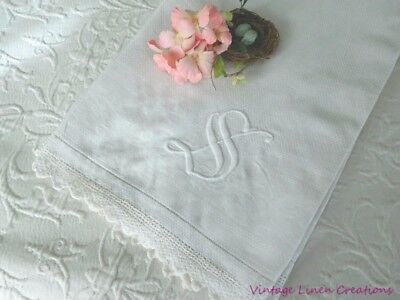 RoMaNTiC ANTiQUE DAMASK LINEN & LACE * Monogrammed S * CROCHET TRIM TOWEL