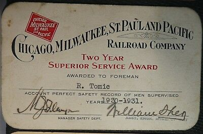 Railroad Pass Annual Chicago Milwaukee St.paul & Pacific Service Awards -3 Tomic