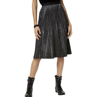 Armani Exchange Womens Silver Pleated Office A-Line Skirt 4 BHFO 3050
