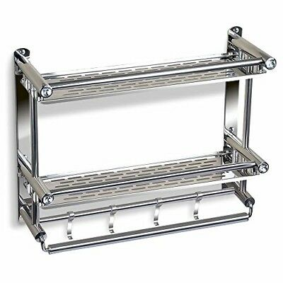TIANG Bathroom Shelf with Towel Bar, No Drilling Stainless Steel Wall Mounted Sh