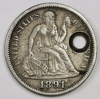 1891 Liberty Seated Dime.  X.F. Detail.  Holed. 115816