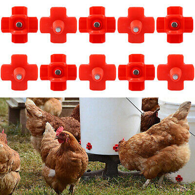 10x Horizontal Side Mount Chicken Duck Watering Nipple Drinking Fountains New