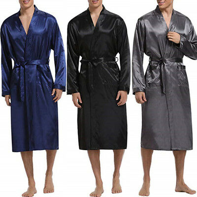 AU Stock Mens Shirt Tops Kimono Bathrobe Pajamas Nightgown Kaftan Robe Sleepwear