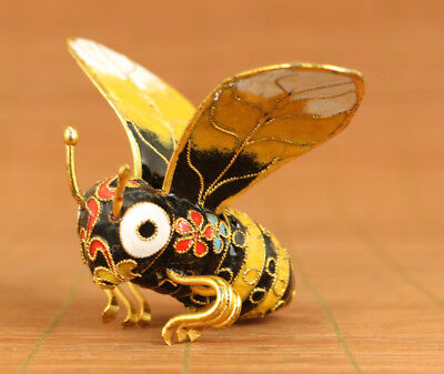 Rare Chinese Old Cloisonne Handmade Carved Bee Statue Figure Home decoation Nets