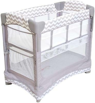 Arm's Reach Mini Ezee 2 IN 1 Baby Co-Sleeper Bedside  Bassinet Grey Chevron New