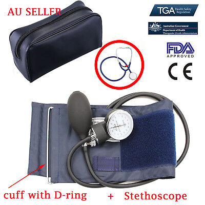 Aneroid Sphygmomanometer Arm Blood pressure Cuff Dial Monitor Stethoscope Set