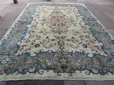 Old Hand Made Traditional Persian Oriental Wool Green Large Carpet 409x292cm