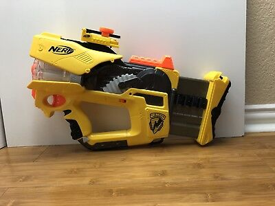 NERF N-Strike Firefly REV-8 GLOW IN THE DARK Yellow Color Way GOOD CONDITION