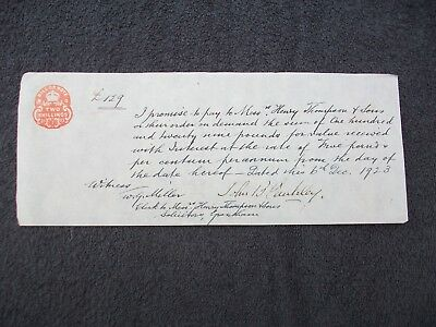 1923, Promissory Note: John B.cantley - Henry Thompson & Sons. Grantham.