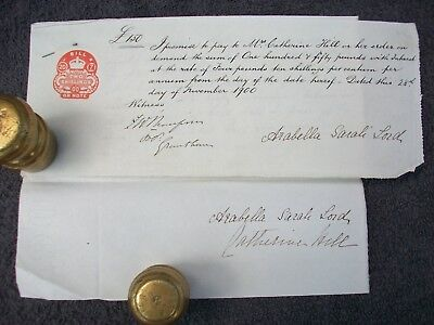 1900, Promissory Note+: Arabella Sarah Lord - Catherine Hill. Grantham, Lincs