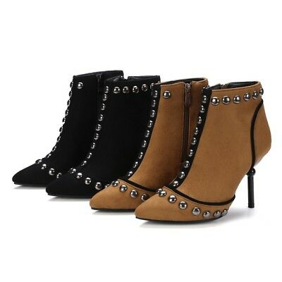 Ladies Club Shoes Studded Faux Suede High Heels Zip Up Ankle Boots UK Size b175