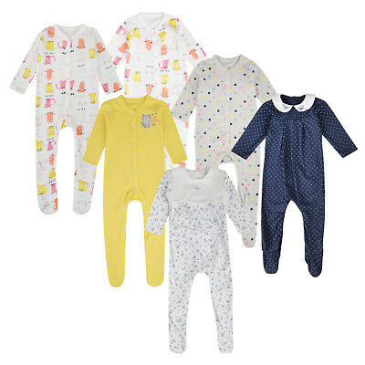 Baby Girls 3 Pack Sleepsuits Ex Mothercare Cotton Babygrows 0-18M All Same Packs