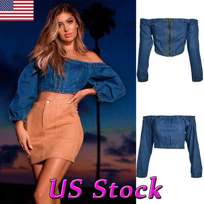 Fashion Women's Sexy Summer Off Shoulder Shirt Blouse Casual Party Denim Top Tee