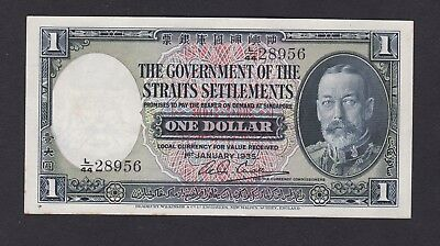 Straits Settlements 1935 King george Vth One Dollar note in very high grade