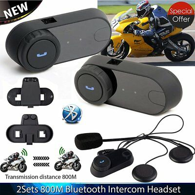 2 x Helmet Bluetooth Interphone 800M BT Motorbike Motorcycle Intercom Headset UK