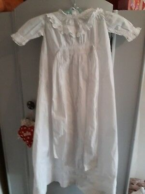 Stunning Vintage Cotton Dress/Christening Gown With Lace Frill