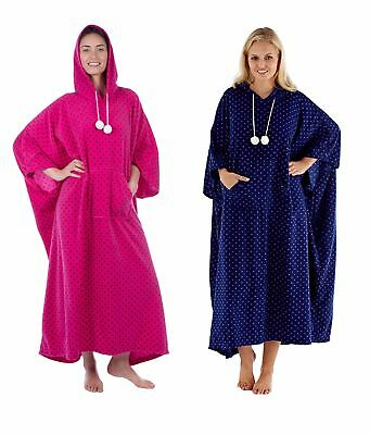 Ladies Full Length Fleece Hooded Poncho / Winter Cover Up