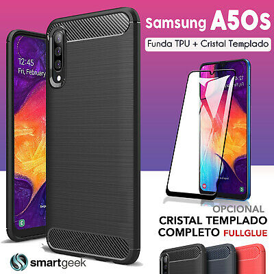 FUNDA TPU Carbono para HUAWEI P SMART PLUS + CRISTAL TEMPLADO case rugged carbon