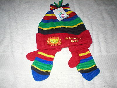 Brand New With Tags Pesci Kids Hat And Mittens Set Age 6/12 Months  Boy Red