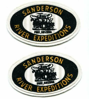 TWO (2) PAGE ARIZONA PATCH ~ SANDERSON RIVER EXPEDITIONS  Canoe On Jalopy Logo