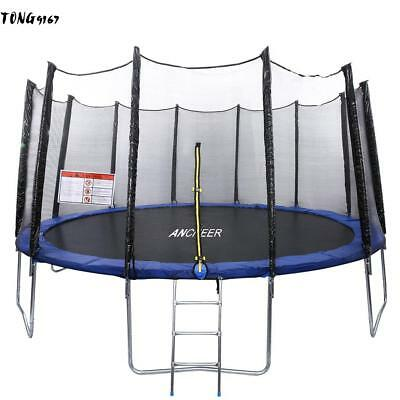12/14/15 FT Round Trampoline with Enclosure Hoop&Ladder and Safety Net Jump Mat