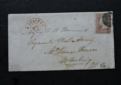 1860s CIVIL WAR MOURNING COVER NEW BEDFORD MA ! WV ARMY PAYMASTER BB HAMMOND W@W
