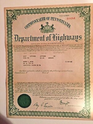 Vintage Framed Department of Highways PA 1917 Title Motor Vehicle Ford
