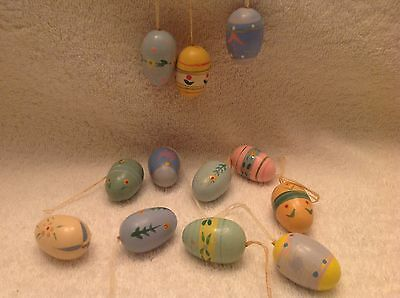 Easter Eggs,Ornaments,Set of 12,Pastel,Spring,Easter Tree Ornaments,Wood,Flowers