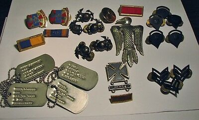 Lot Of Mixed Unsorted Military Pins- Dog Tags- Ribbons & More