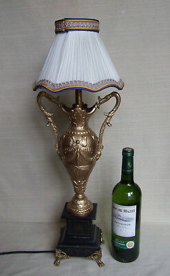 FINE ANTIQUE LARGE FRENCH 19th CENTURY GILT AND SLATE LAMP,LIGHT.