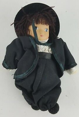 "Amish Boy Doll 6"" Tall Traditional Attire Black Sash And Bow With Hat"
