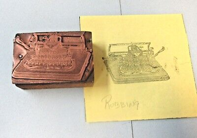 Vtg Copper Cut Of Blickensderfer Typewriter No 7 Mfg 1897 Thru 1916