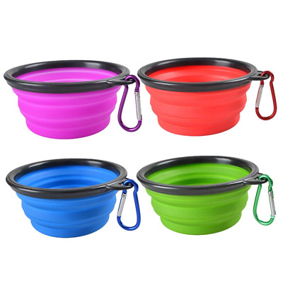 Collapsible Dog Bowl Silicone Portable Foldable Water Bowls Carabiner Clip 4 PCS