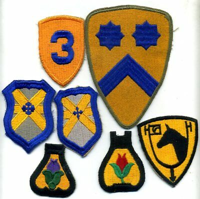 (7) WW2 & Post Vintage US Army CAVALRY REGIMENT Cotton Patch Lot