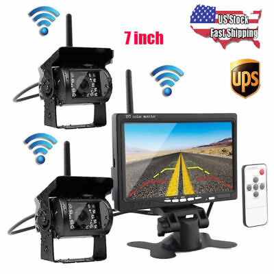 "7"" Monitor + 2× Wireless Rear View Backup Camera Night Vision for RV Truck Bus"