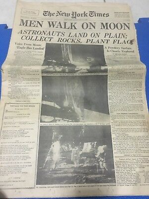 Vintage Newspaper Headline ~Nasa Astronaut Space Men Land Walk On Moon Surface~