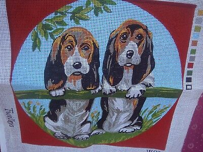 Vintage Twilleys  Hound Dogs Puppies Tapestry Canvas To Embroider Unused